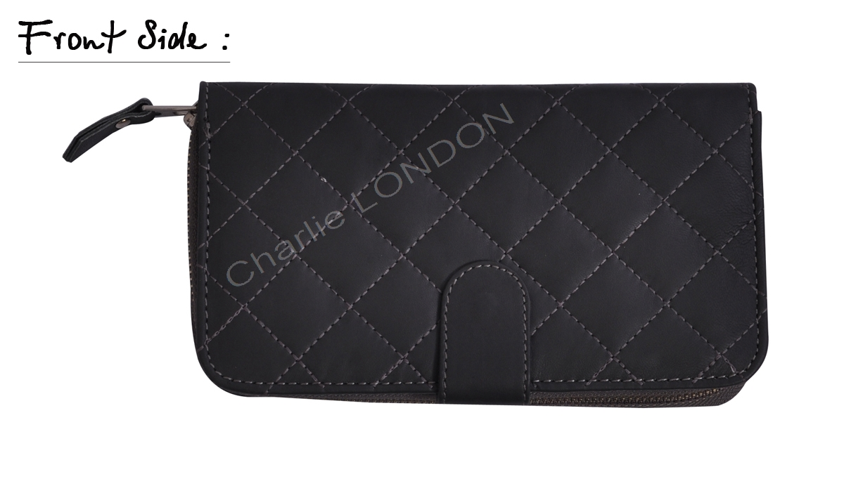 Women's Quilted Dark Grey Leather Wallet