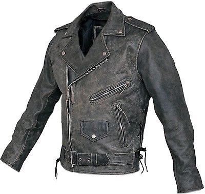 Mens Distressed Brando Belted Biker Motorcycle Leather Jacket