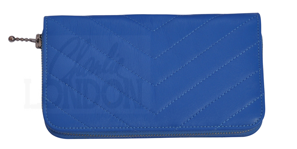 Womens Colette Blue Designer Genuine Leather Wallet Purse