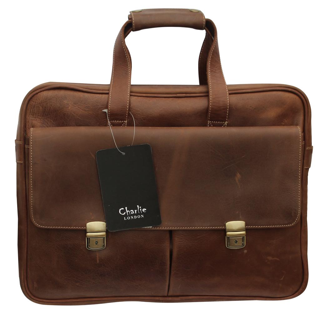 Brown Vintage Genuine Leather Laptop Bag