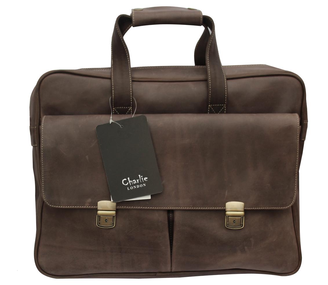 Dark Brown Crazy Horse Genuine Leather Laptop Messenger Bag