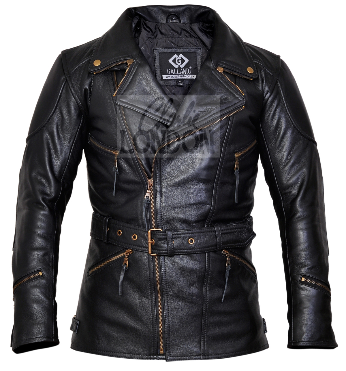 3/4 Eddie Black Long Motorcycle Jacket