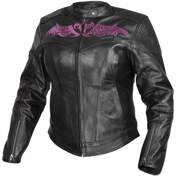 Womens Purple Tribal Embroidery Leather Armored Motorcycle Jacket
