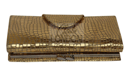 Gold Anaconda Snake Print Clasp Purse Wallet