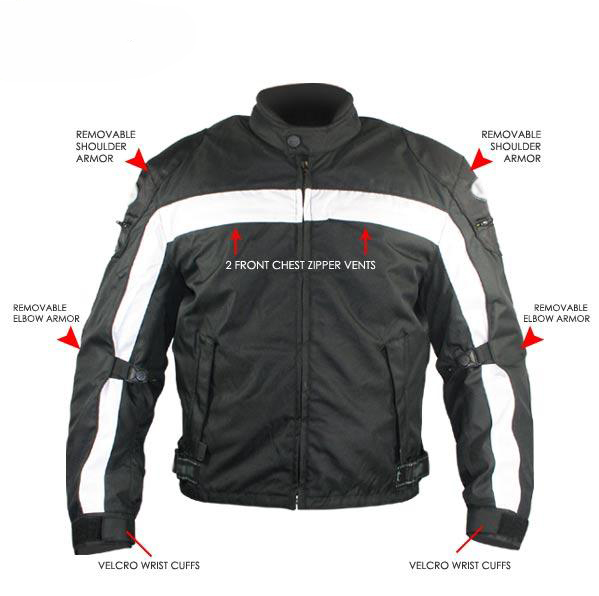 Armored Black and White Waterproof Motorcycle Jackets