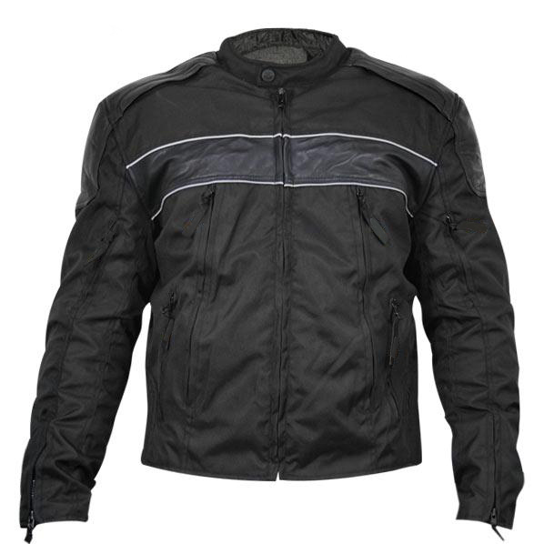 Mens Fabric and Leather Level-3 Armored Motorcycle Jacket