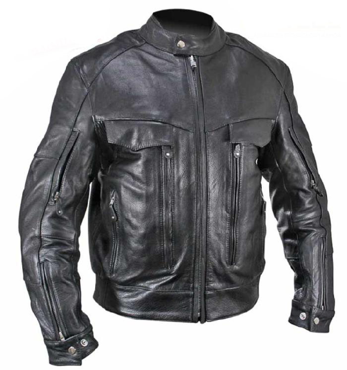 Bandit Cowhide Leather Cruiser Motorcycle Jacket with Level-3 Armor