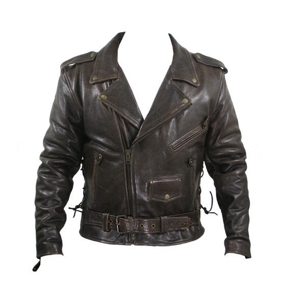 Men's Brown Premium Cowhide Distressed Leather Classic Biker Jacket