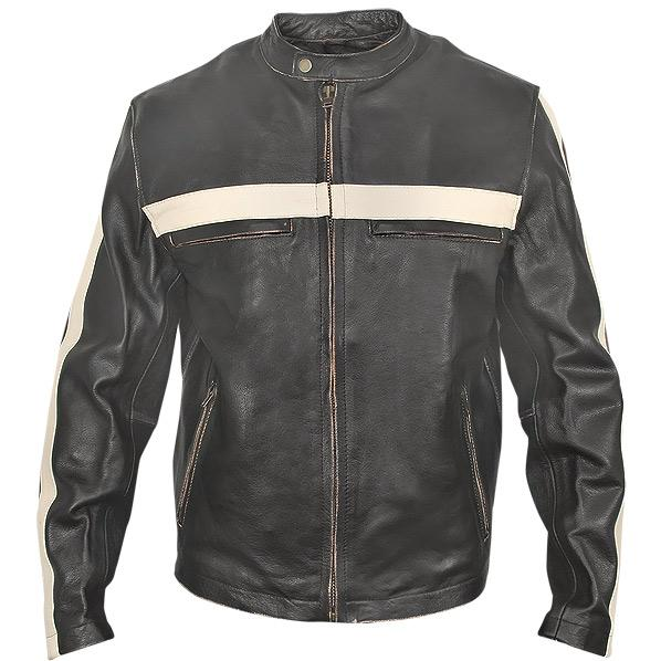 Men's Dark-Brown Vintage Motorcycle Jacket with Beige Stripes | Charlie London - Leather Jackets for Men and Women - FREE UK DELIVERY