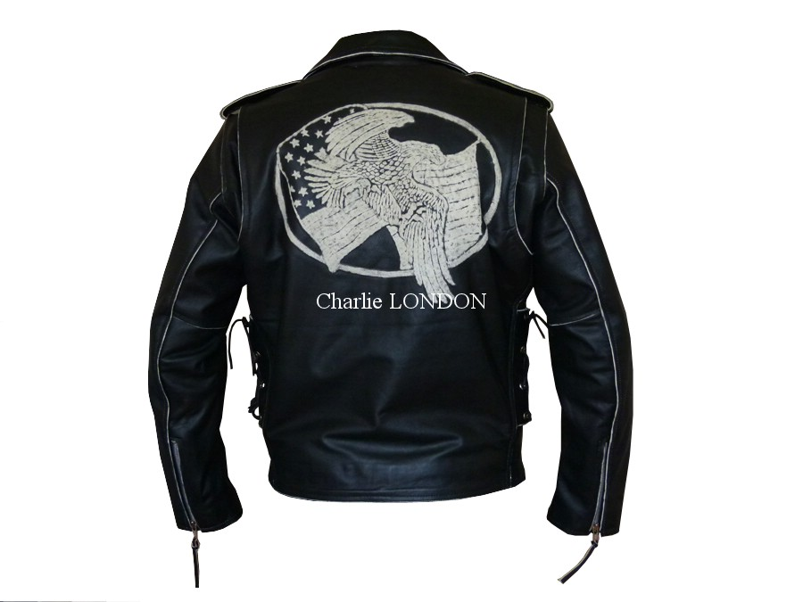 Mens Black Leather Eagle Embossed Motorcycle Jacket