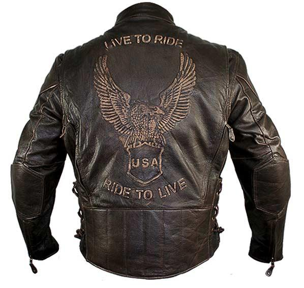 Men's Retro Brown Premium Cowhide Distressed Leather Embossed Cruiser Biker Jacket
