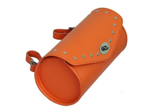 Orange Leather Motorcycle Tool Bag