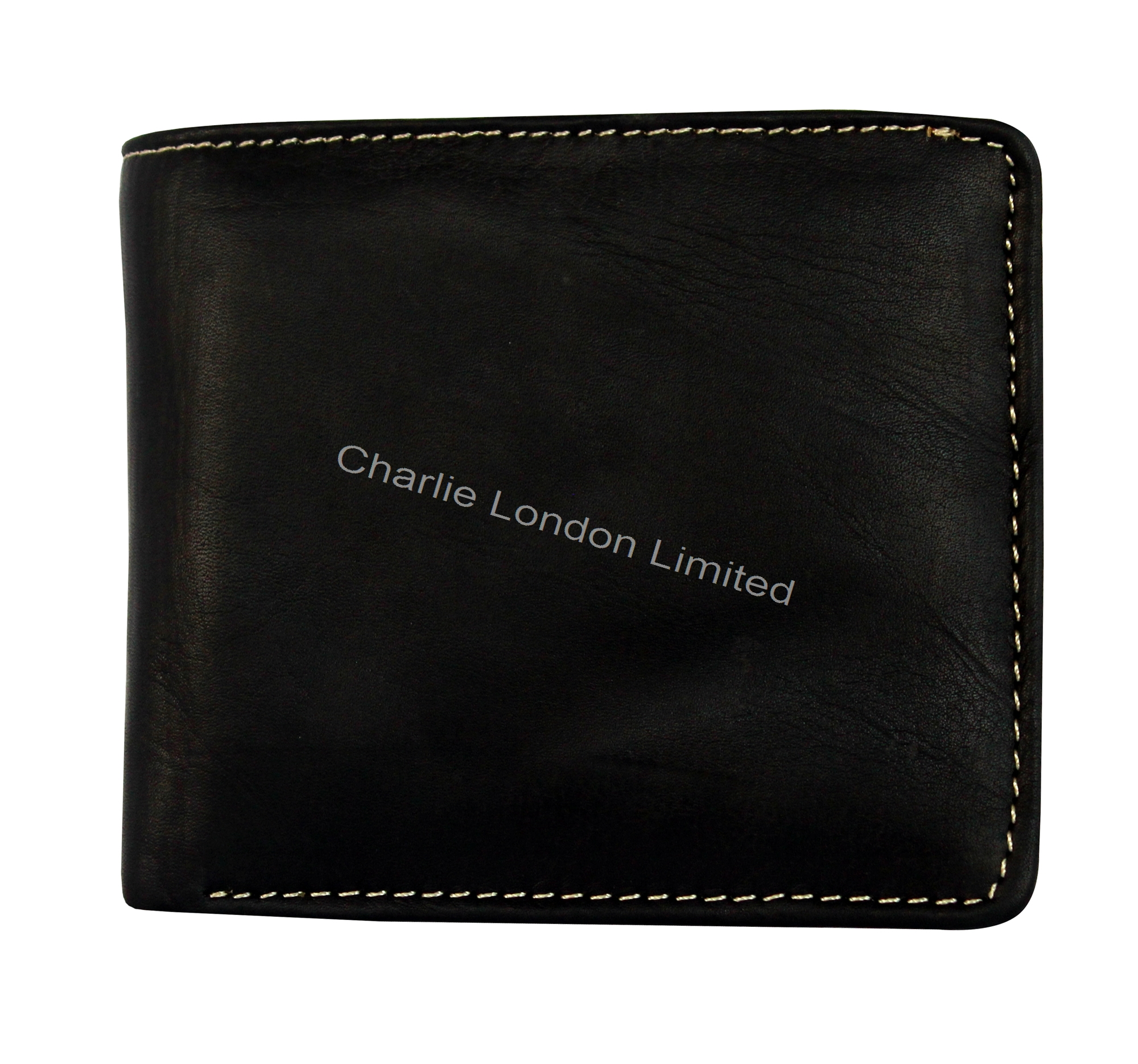 Men's Soft Black Designer Leather Trifold Wallet