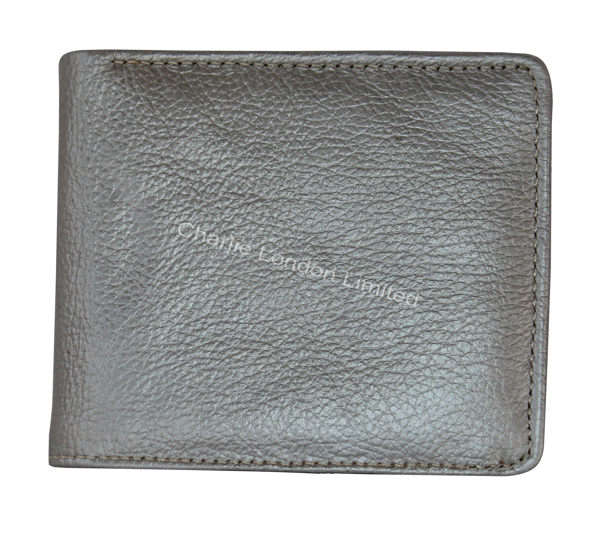Men's Unique Silver Grain Leather Trifold Wallet