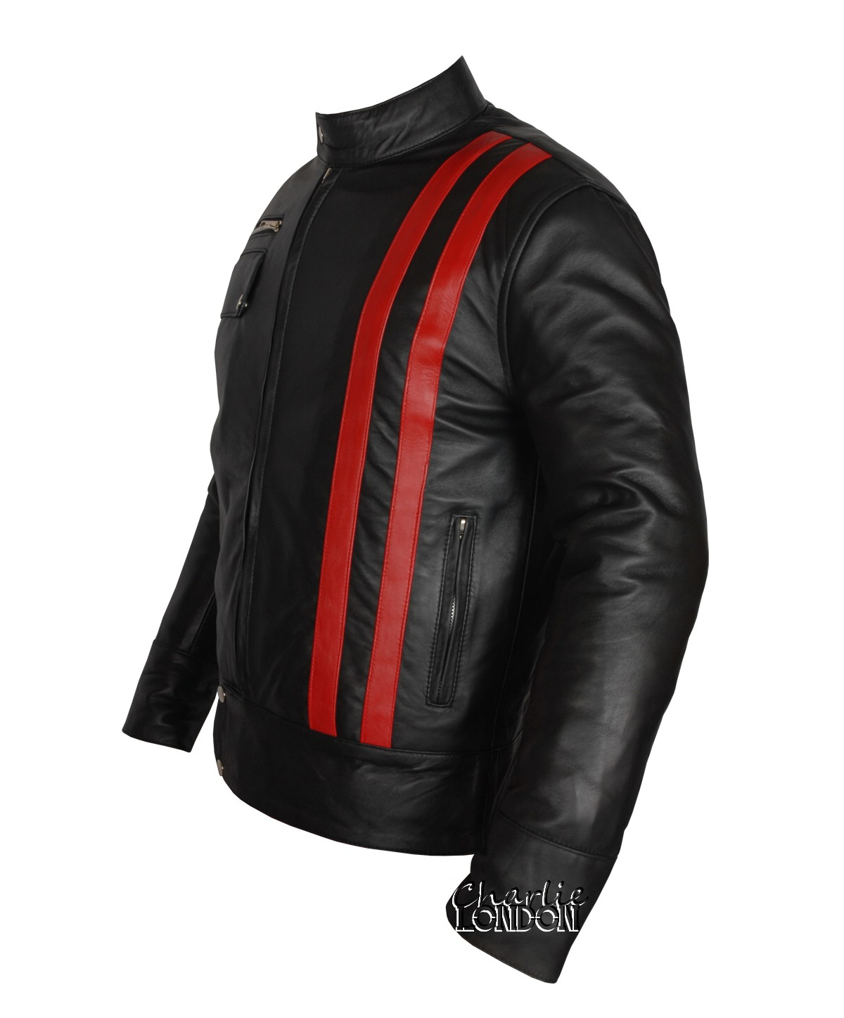 Smart Cafe Racer Retro Style Striped Leather Jacket | Charlie London - Leather Jackets for Men and Women - FREE UK DELIVERY