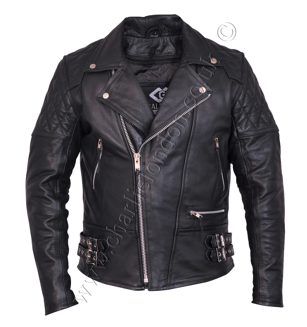 Vintage Classic Diamond Black Leather Jacket