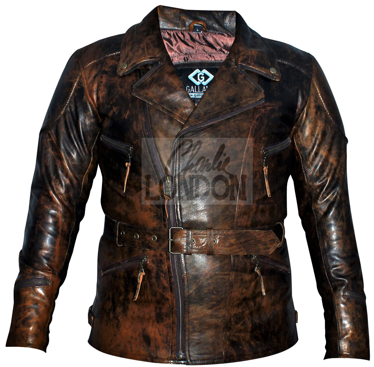 3/4 Eddie Brown Vintage Motorcycle Biker Jacket