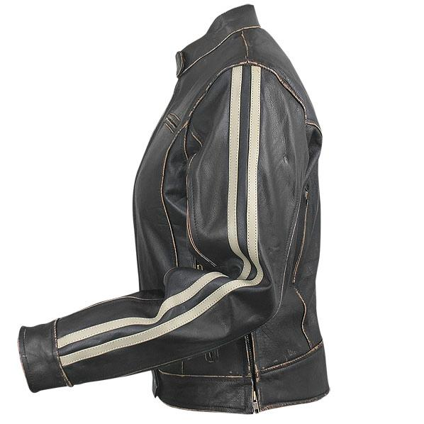 Women's Dark-Brown Vintage Motorcycle Jacket with Beige Stripes | Charlie London - Leather Jackets for Men and Women - FREE UK DELIVERY