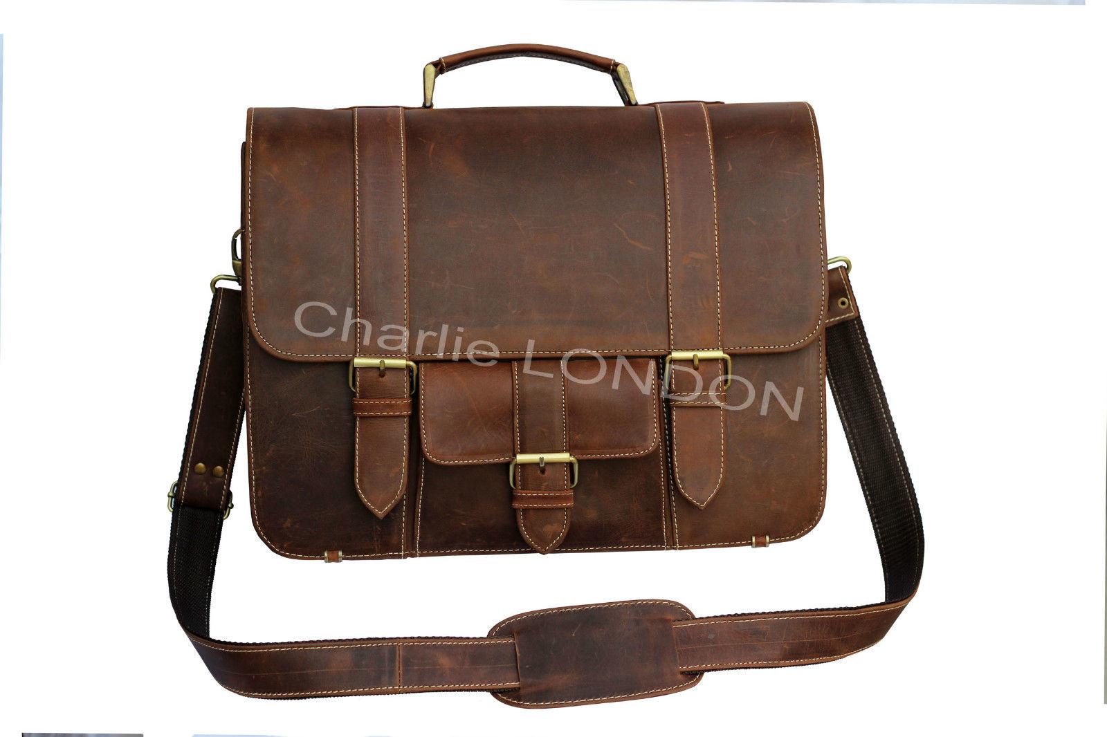 Vintage Brown Macbook Office Laptop Leather Bag
