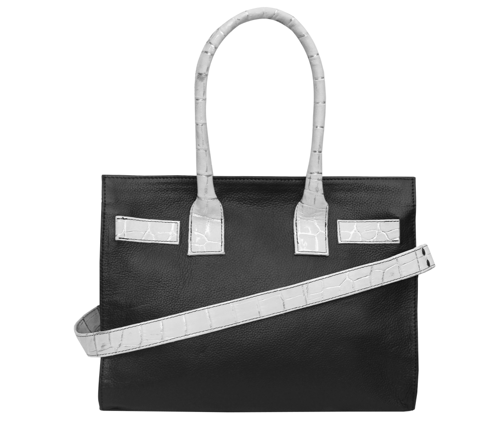 White Croc Detail Black Leather Tote Handbag