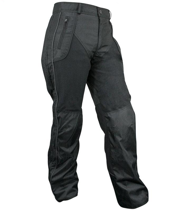 Women's Black Armored Pants with Reflective Piping
