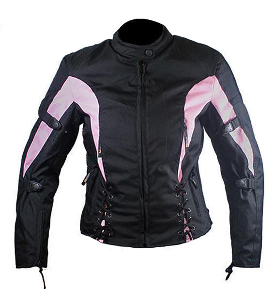 Ladies Black and Pink Fabric Vented Motorcycle Jacket