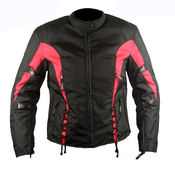 Ladies Black and Red Fabric Vented Motorcycle Jacket