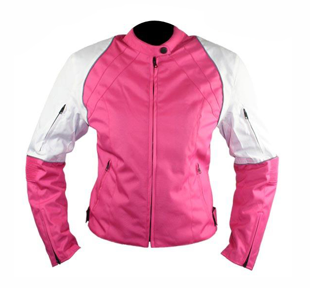 Women's Pink and White Armored Motorcycle Jacket