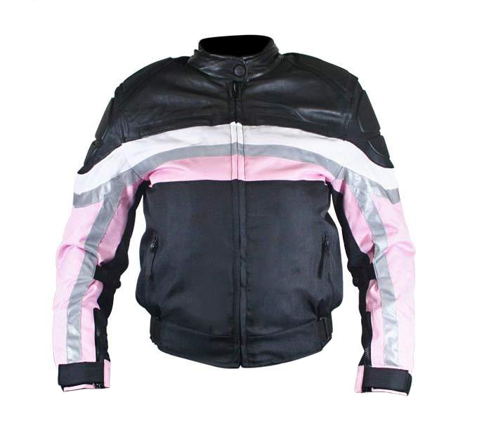 Women's Armored Fabric Motorcycle Black & Pink with Leather Jackets