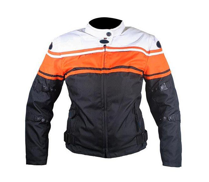 Ladies Three Tone Vented Fabric Padded Motorcycle Jacket with Level-3 Advanced Armor