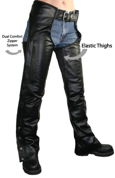 Women's Leather Braided Zippered Chaps