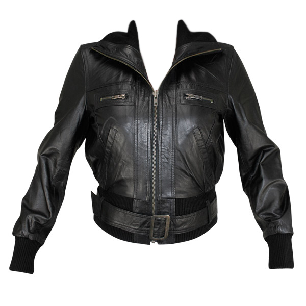 Ladies Lambskin Classic Fitted Bomber Jacket | Charlie London