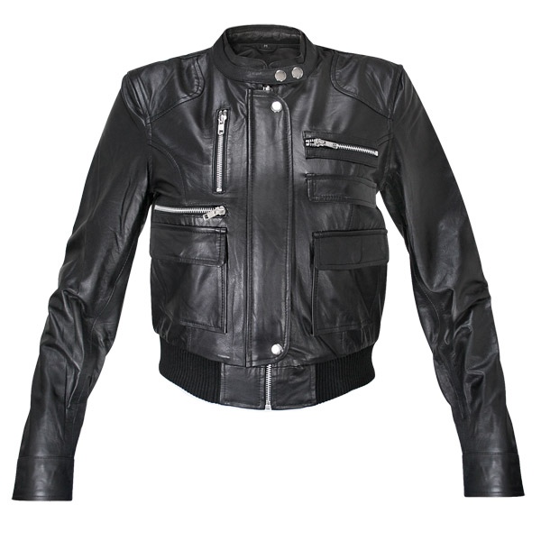 Ladies Collarless Fitted Lambskin Bomber Jacket | Charlie London