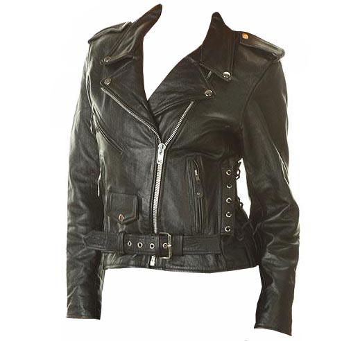 Ladies Classic Black Biker Motorcycle Jacket