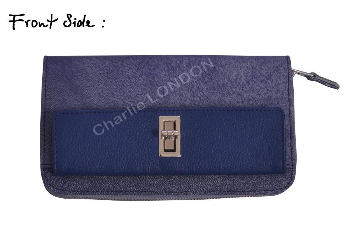 Women's Blue Gold Turn Lock Style Leather Genuine Purse Wallet