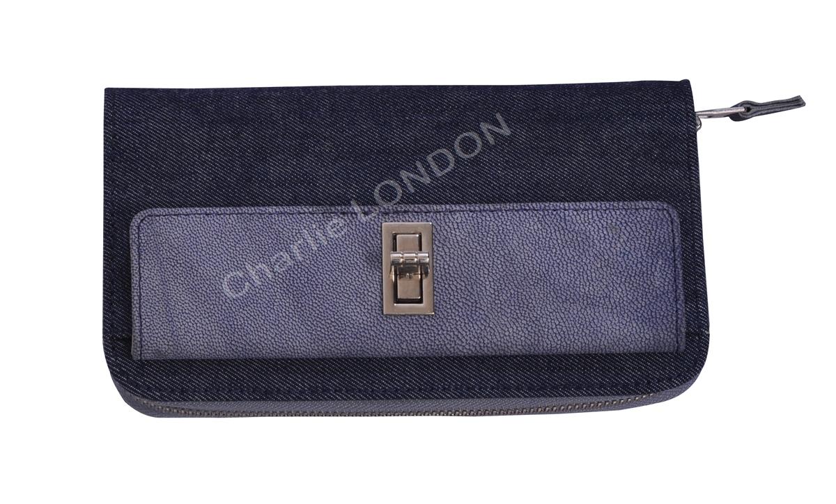 Women's Designer Denim Leather Purse Wallet