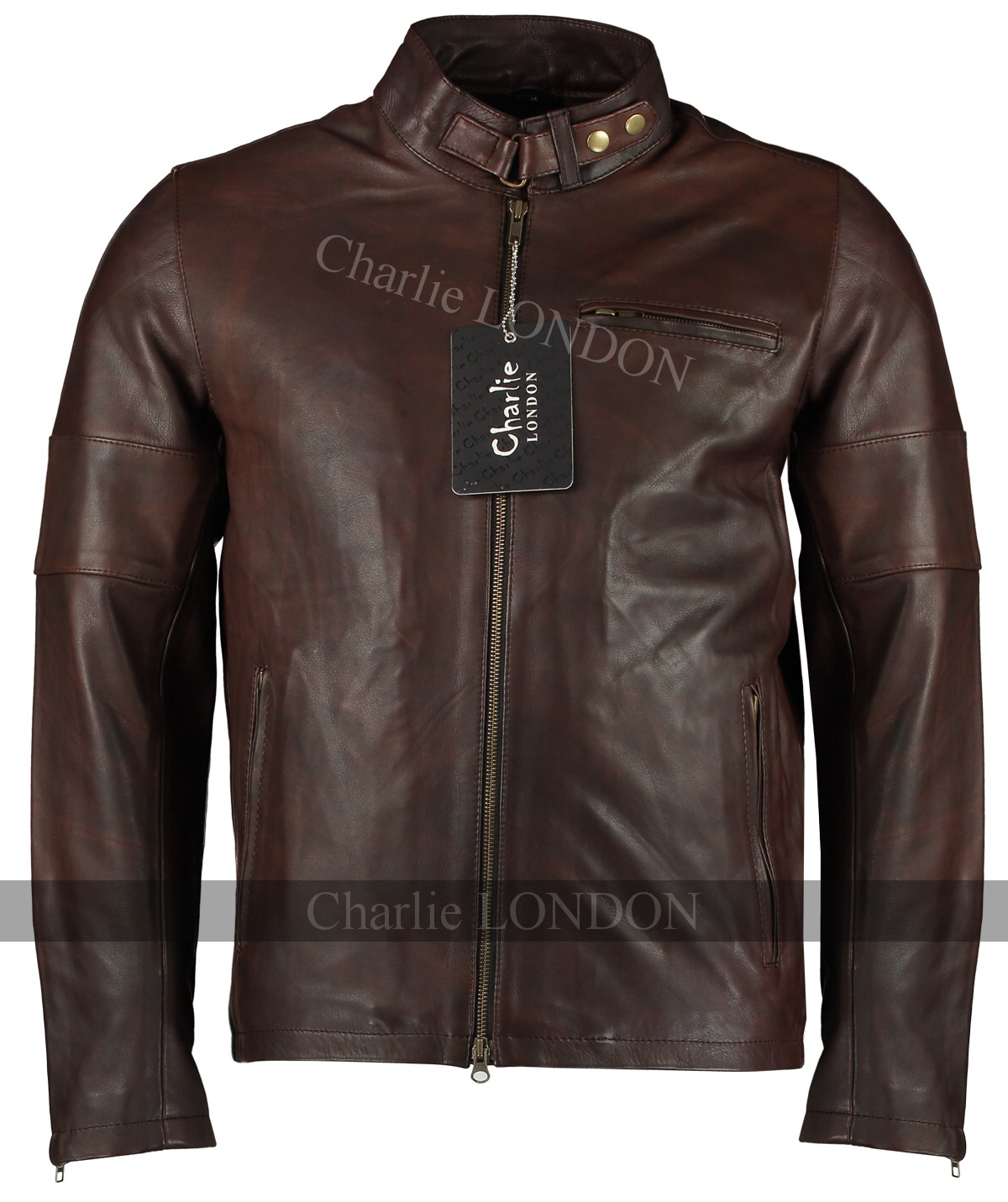 Mens Daytona Vintage Brown Leather Jacket