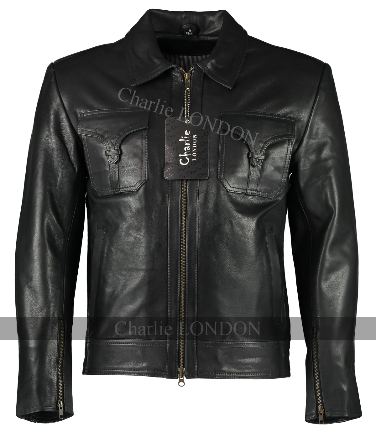 Mens Drifter Black Leather Jacket