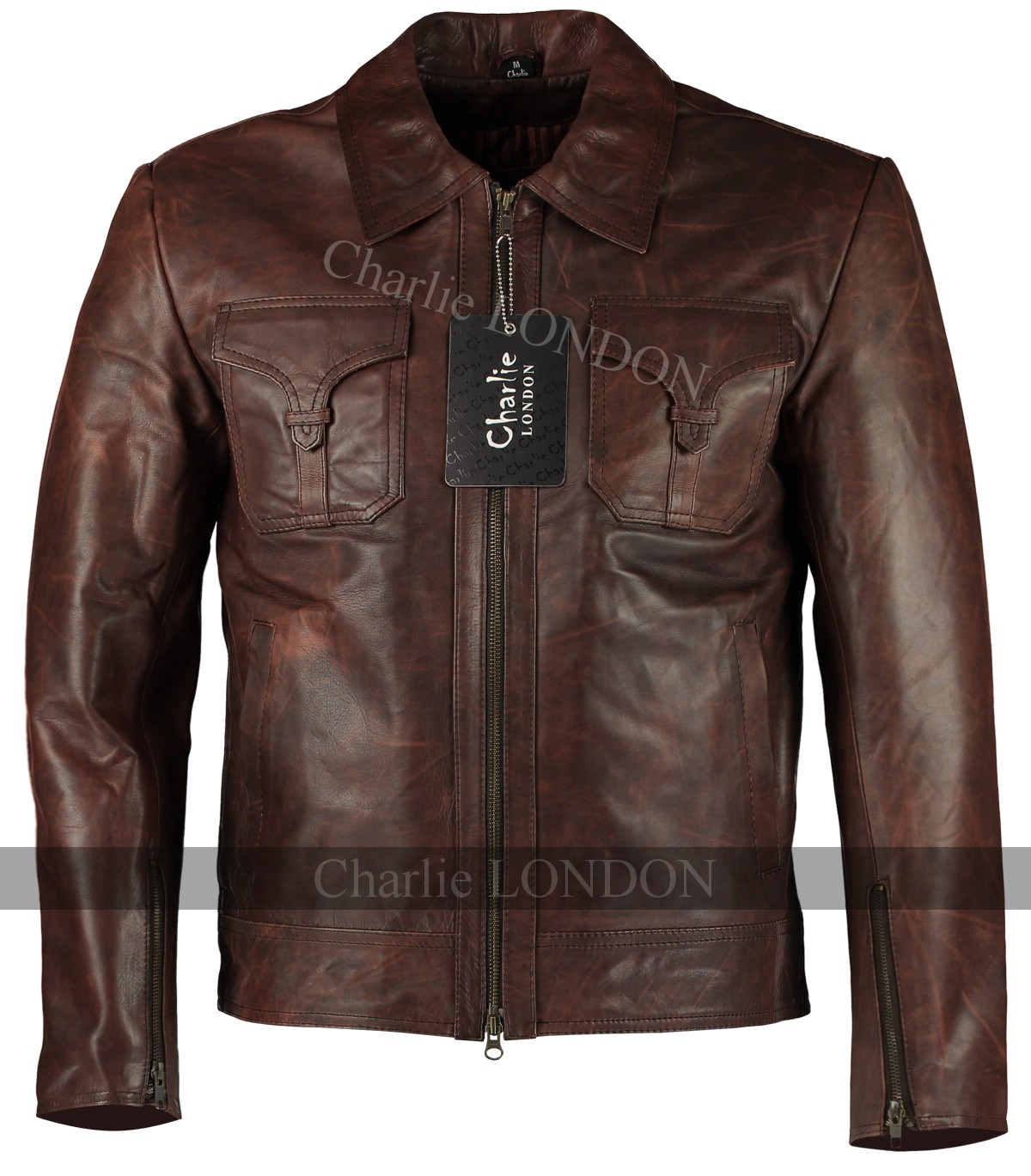 Mens Drifter Vintage Brown Leather Jacket