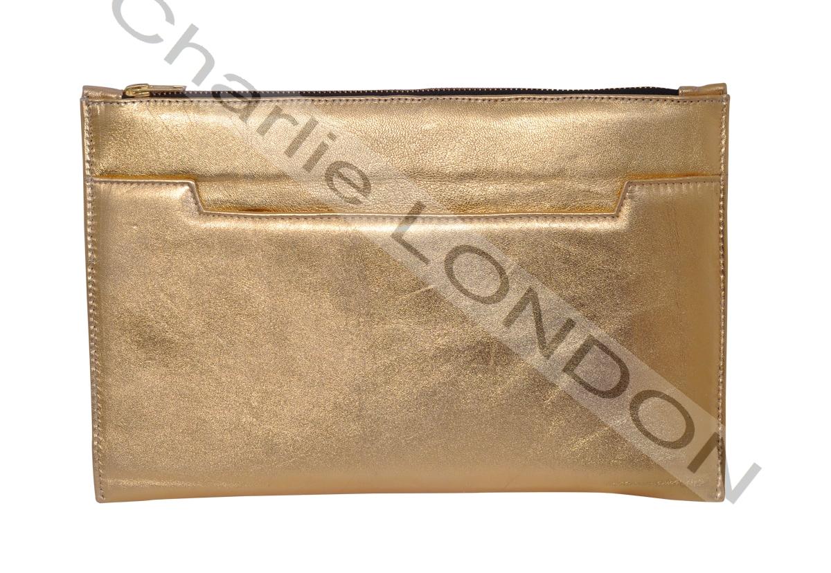 Gold Designer Leather Clutch Bag