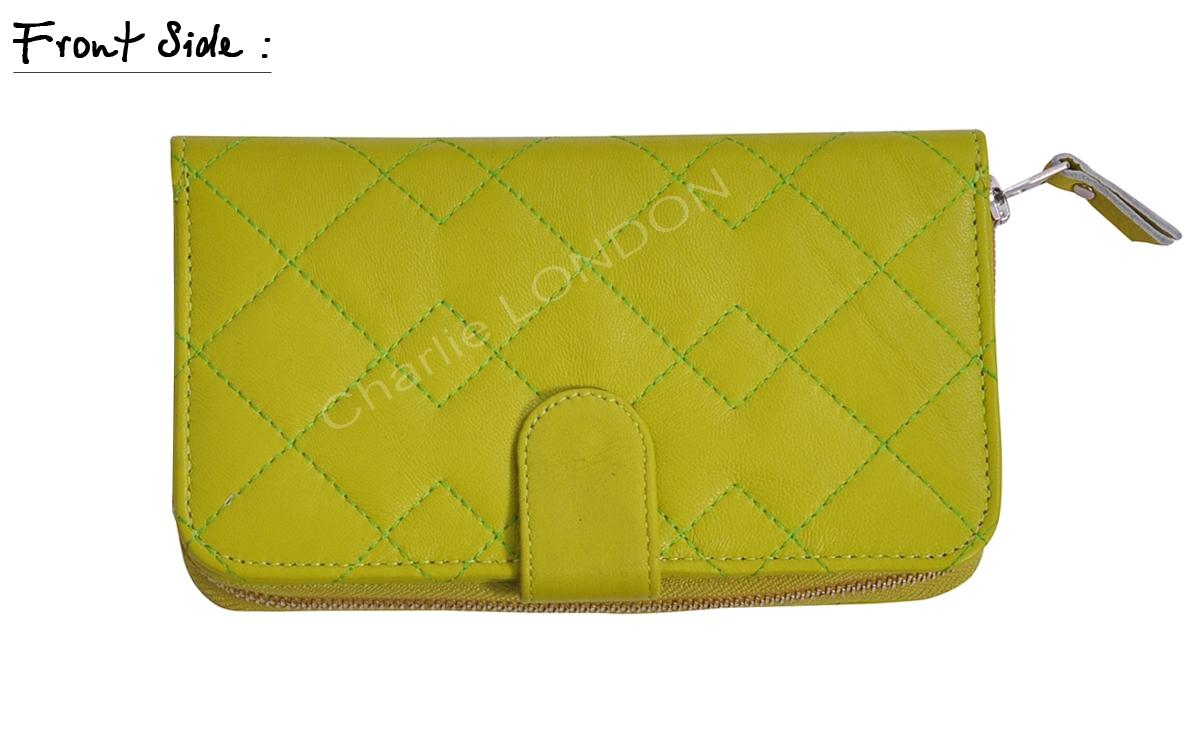 Lime Green Women's Leather Purse Wallet