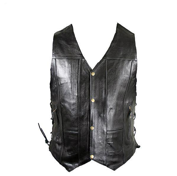 Men's 10 Pocket Premium Black Leather Vest