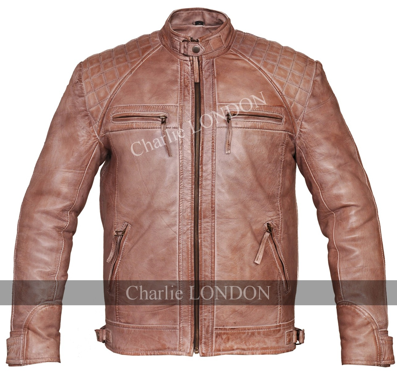 Mens Retro Vintage Brown Zipped Diamond Leather Jacket