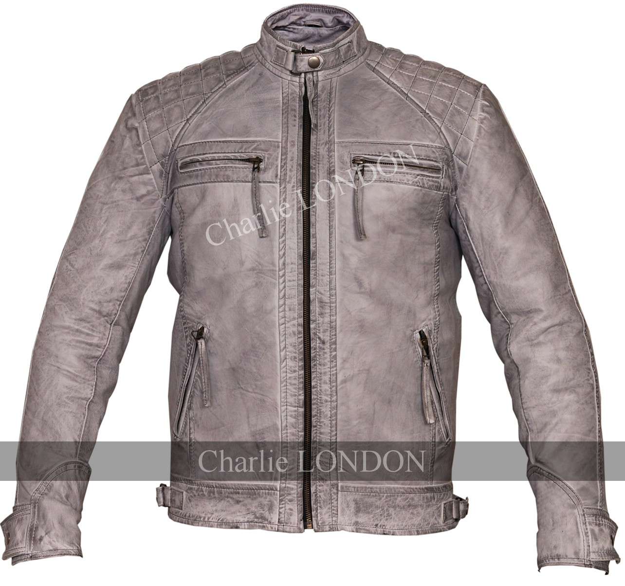 Mens Retro Vintage Grey Zipped Diamond Leather Jacket