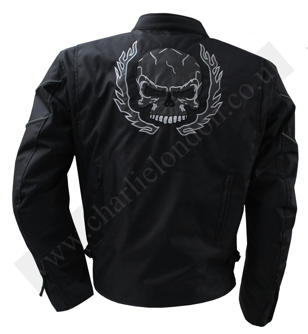 Mens Skull Armored Black Textile Motorcycle Jacket