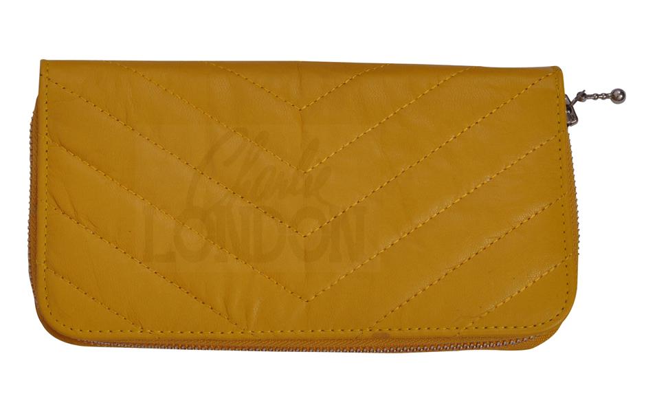 Women's Mustard Yellow Designer Leather Purse Wallet