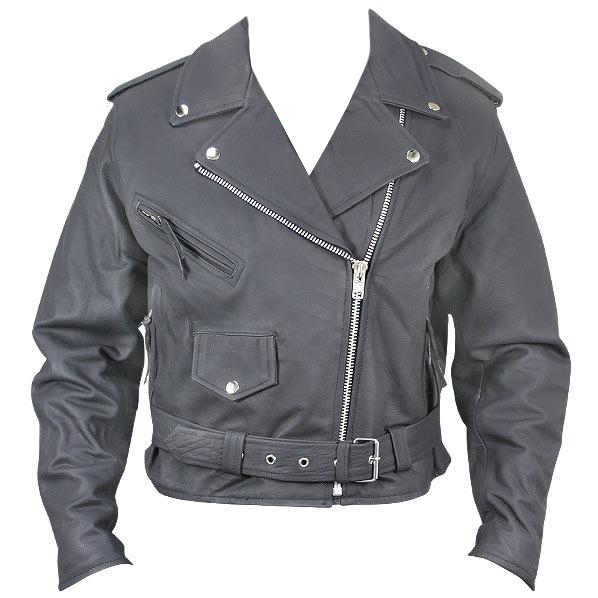 Women's Black Belted Leather Motorcycle Jacket