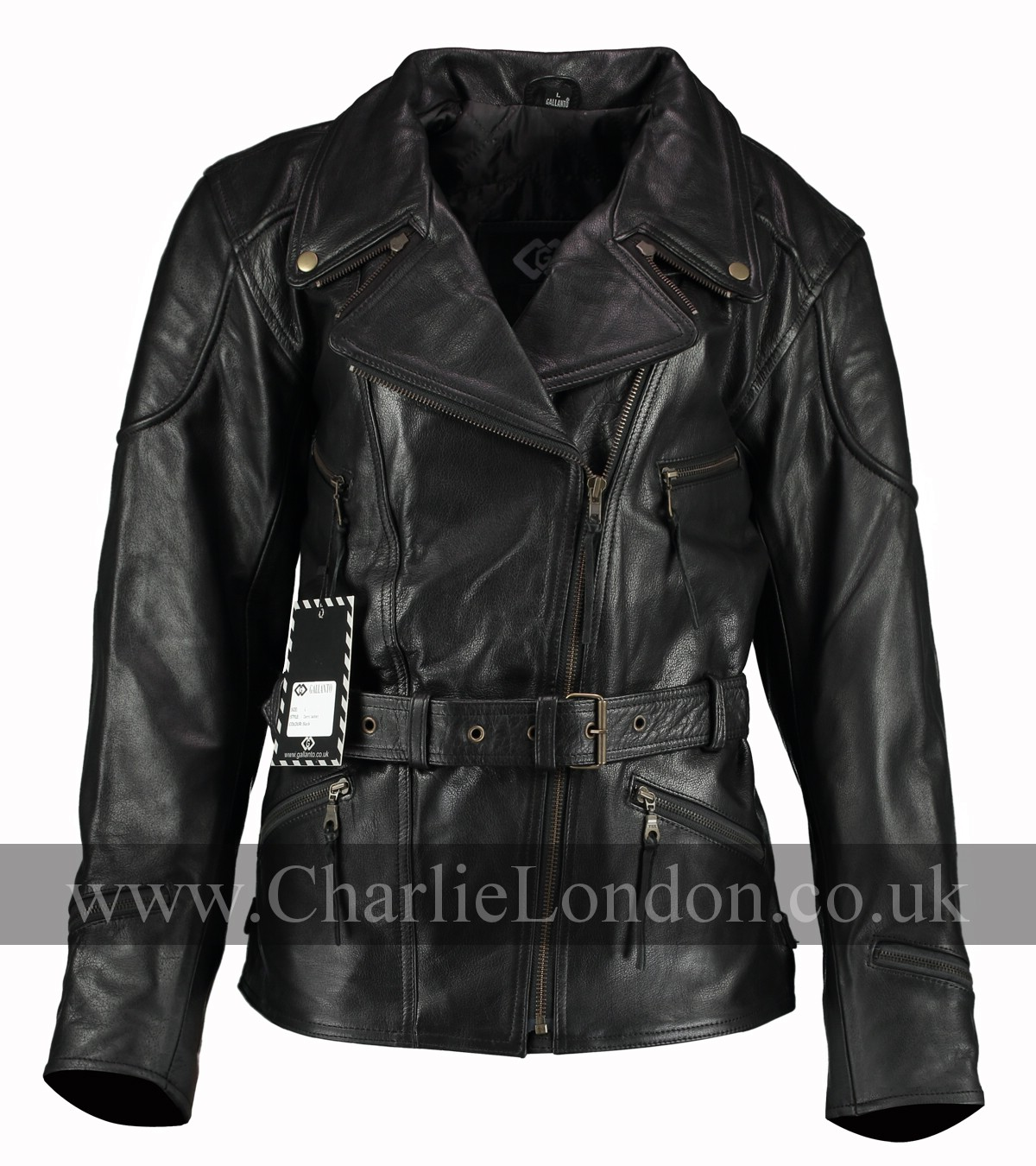3/4 Long Demi Black Womens Biker Jacket