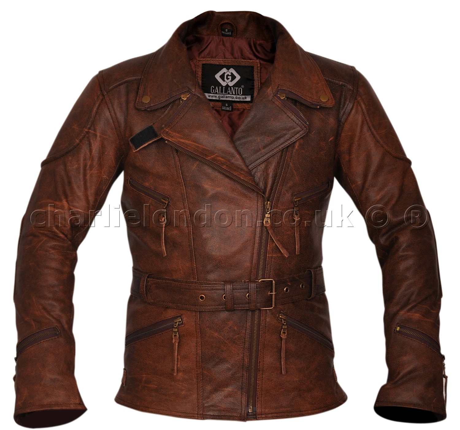 3/4 Long Demi Brown Womens Biker Jacket