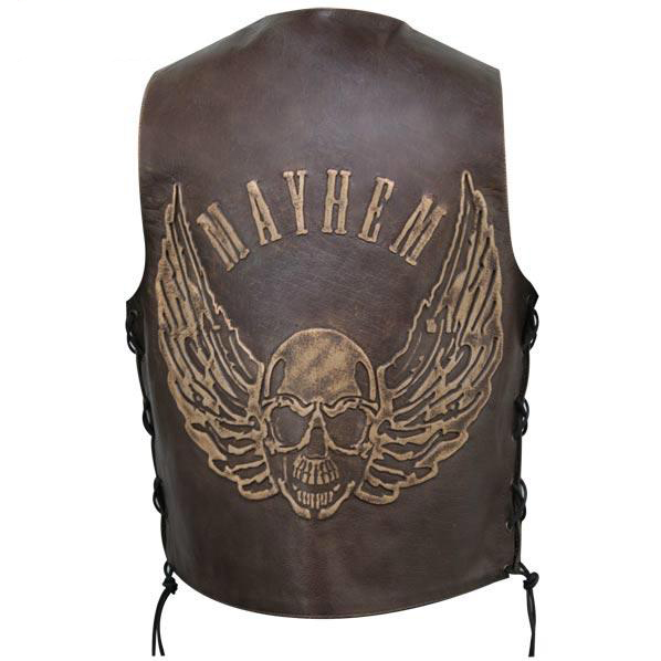 Brown Flying Skull Cruiser Leather Vest
